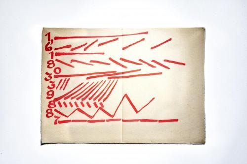 """<span class=""""nome_artista"""">Giorgio Griffa <p class=""""nome_opera"""">Sezione aurea 887</p> <p>2010</p> <p class=""""info_opera"""">Acrilico su tela</p> <p>61x87cm</p></span>"""