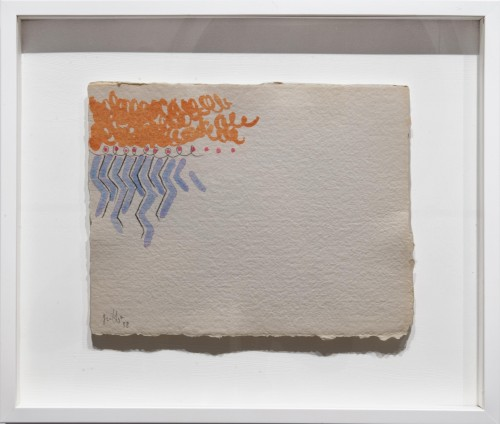 """<span class=""""nome_artista"""">Giorgio Griffa <p class=""""nome_opera"""">Due colori</p> <p>1988</p> <p class=""""info_opera"""">Acquerello su carta a mano</p> <p>35x32cm</p></span>"""