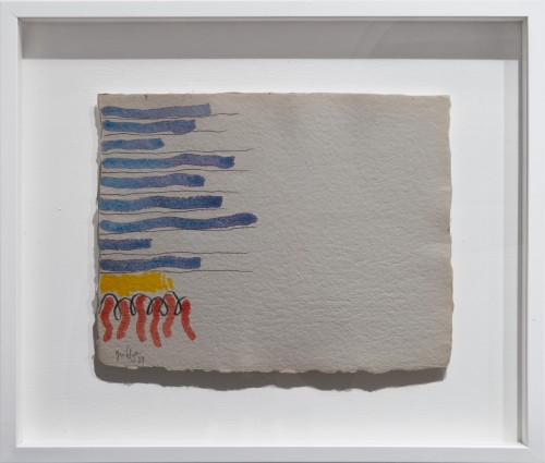"""<span class=""""nome_artista"""">Giorgio Griffa <p class=""""nome_opera"""">Segno e colore</p> <p>1989</p> <p class=""""info_opera"""">Acquerello su carta a mano</p> <p>25x32cm</p></span>"""
