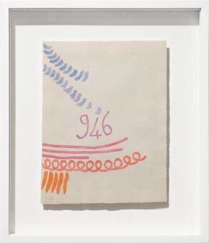 "<span class=""nome_artista"">Giorgio Griffa <p class=""nome_opera"">Tre linee con arabesco 946</p> <p>1993</p> <p class=""info_opera"">Acquerello su carta a mano</p> <p>33x32cm</p></span>"