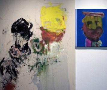 """<span class=""""nome_artista"""">Andreas Waldmeier<p class=""""nome_opera"""">Än ächtä Waldmeier e Cutout head</p><p class=""""info_opera"""">olio su cotone e olio su lino<br>2018, 120x100 cm + 50x40 cm"""