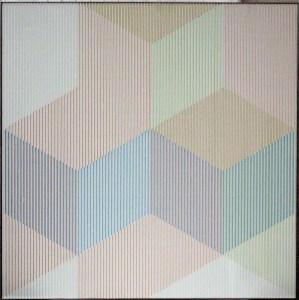 "<span class=""nome_artista"">Sandi Renko<p class=""nome_opera"">COLDINAMICA 81, 1981,</p><p class=""info_opera""> tiralinee a tempera su canneté  1981, 63 x 63 cm</p></span>"