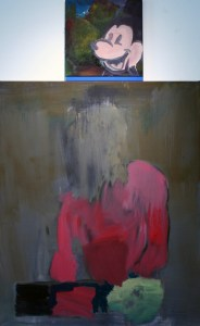 """<span class=""""nome_artista"""">Andreas Waldmeier<p class=""""nome_opera"""">Body is pink Head is dead e Mickeys vacancy</p><p class=""""info_opera"""">olio su lino <br>2018, 120x100 cm, 40x40 cm"""