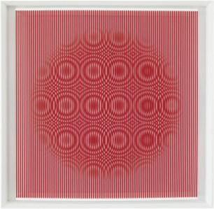 """<span class=""""nome_artista"""">Alberto Biasi <p class=""""nome_opera"""">RED RAIN COMING DOWN</p><p class=""""info_opera"""">rilievo in pvc su tavola<br>1996, cm 100 x 100</p></span>"""