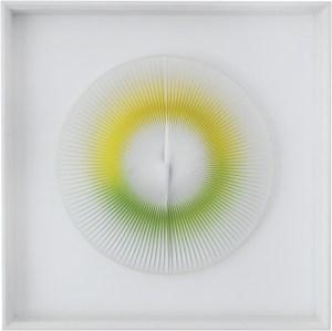 """<span class=""""nome_artista"""">Alberto Biasi <p class=""""nome_opera"""">CERCHIO MAGICO SI MUOVE</p><p class=""""info_opera"""">acrilico e pvc su tavola<br> 2000, diametro cm 30</p></span>"""