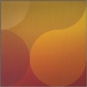 "<span class=""nome_artista"">Sandi Renko<p class=""nome_opera"">KROG 117 aerografo su canneté acrilico2017, 49 x 49 cm</p></span>"