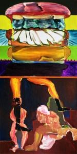 "<span class=""nome_artista"">Andreas Waldmeier<p class=""nome_opera"">Leinen Salat Burger e Orange Hero</p><p class=""info_opera"">olio su tela <br>2019, 100x100cm, 100x100 cm"