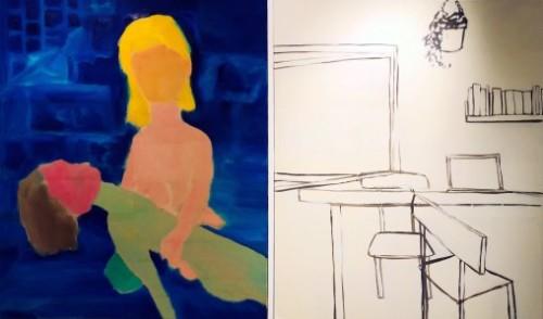 """<span class=""""nome_artista"""">Andreas Waldmeier<p class=""""nome_opera"""">Pietà e Wohnen</p><p class=""""info_opera"""">olio su lino<br> 2018, 120x100 cm, 120x100 cm"""