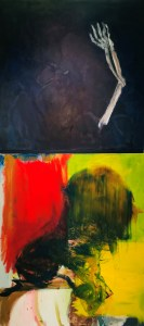 """<span class=""""nome_artista"""">Andreas Waldmeier<p class=""""nome_opera"""">Skelett Hand e Grün Kopf</p><p class=""""info_opera"""">olio su lino e olio su cotone<br>2018, 100x100 cm, 120x100 cm"""