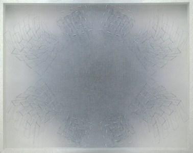 """<span class=""""nome_artista"""">Emanuela Fiorelli<p class=""""nome_opera"""">Isola di ombra </p><p class=""""info_opera""""> tarlatana tinta e filo argenteo su tela serigrafata <br> 2012,  133x110x13cm</p></span>"""